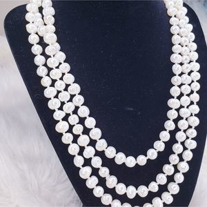 Freshwater Pearl White Lariat Layer Necklace